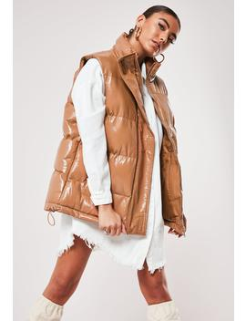 Tan Vinyl Padded Gilet by Missguided