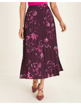 Floral Woven Pleated Skirt by Chico's