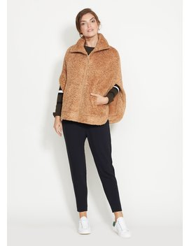 Caramel Ashford Poncho In Brushed Fleece by Dudley Stephens