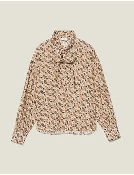 Printed Flowing Top With Bow Collar by Sandro Eshop
