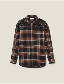 Checked Shirt With Western Embroidery by Sandro Eshop