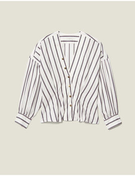 striped-poplin-fitted-shirt by sandro-eshop