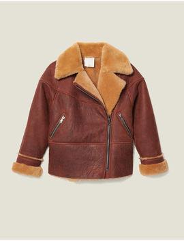 Two Tone Sheepskin Aviator Jacket by Sandro Eshop