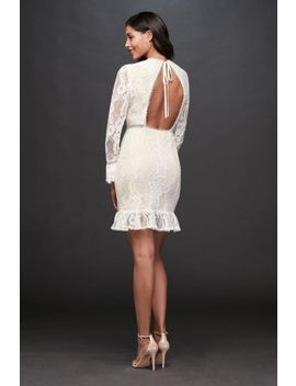 Lace Illusion Short Dress With Flounce Trim by Db Studio