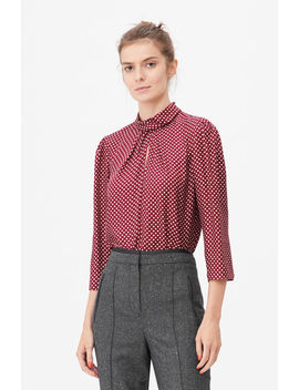 Tailored Deco Dot Twist Neck Top by Rebecca Taylor