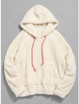 Hot Kangaroo Pocket Plain Faux Fur Hoodie   Warm White M by Zaful