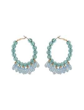 Aja Blue Round & Teardrop Beaded Hoop Earrings by Olivar Bonas