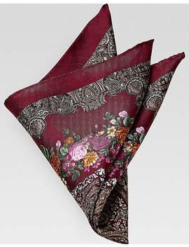 Joseph Abboud Burgundy Floral Paisley Pocket Silk by Joseph Abboud