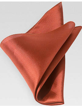 Men's Wearhouse Rust 100% Silk Pocket Square by Men's Wearhouse
