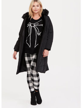 Platinum Leggings   Sweater Knit Plaid White & Black by Torrid