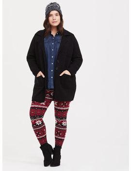 Platinum Legging   Sweater Knit Fair Isle Red & Black by Torrid