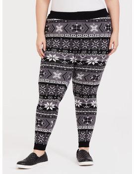Platinum Legging   Sweater Knit Fair Isle Black & White by Torrid