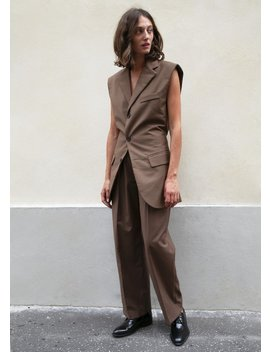 Walnut Sleeveless Vest With Open Back by The Frankie Shop