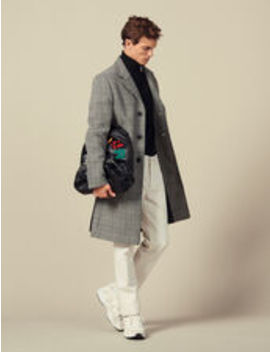prince-of-wales-check-straight-cut-coat by sandro-eshop