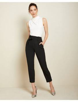 High Waist Black Stretch Paper Bag Pant by Rw & Co