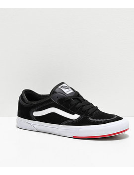 Vans Rowley Classic Black, White & Red Skate Shoes by Zumiez