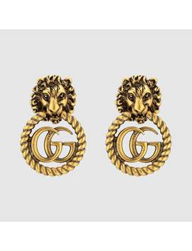 Lion Head Earrings With Double&Nbsp;G by Gucci