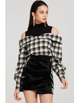 Sara Splicing Plaid Cold Shoulder Top by Storets