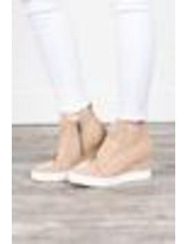 Known By All Oatmeal Brown Wedge Sneakers by The Mint Julep Boutique