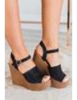 Feelings Run Deep Wedges, Black by The Mint Julep Boutique