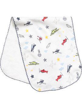 'aeroplanes' Pima Cotton Burping Cloth (48cm) by Kissy Kissy