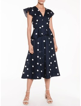 Linen Spot Peplum Dress by Veronika Maine