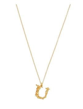Gold Plated Floral Letter U Alphabet Necklace by Alex Monroe