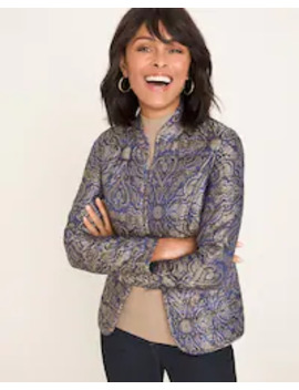 Reversible Printed Jacquard To Black Quilted Jacket by Chico's