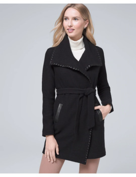 Vegan Leather Trim Sweater Coat by Whbm