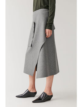 Asymmetric Wool Mix Wrap Skirt by Cos