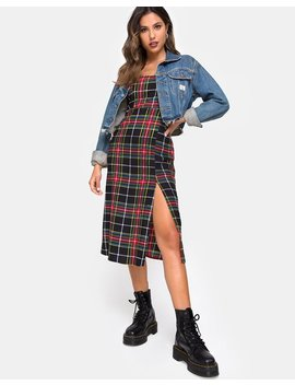 Kaoya Dress In Plaid Red Green Yellow Black By Motel by Motel