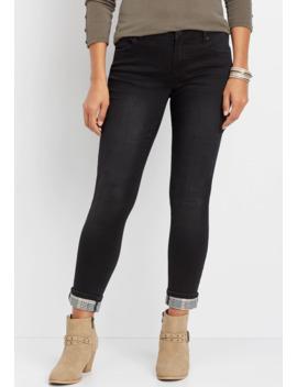Denim Flex™ Black Menswear Plaid Cuff Jegging by Maurices