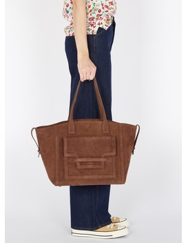 Large Velour Leather Tote Bag Brown by Maison 123