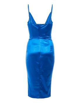 Royal Blue Cowl Neck Bodycon Midi Dress by Quiz
