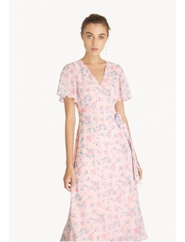 Floral Surplice Side Tie Dress   Pink by Pomelo
