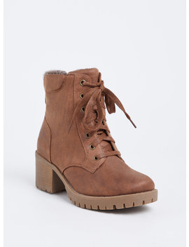 Brown Faux Leather Sweater Trimmed Hiker Boot (Wide Width) by Torrid