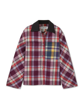 leather-trimmed-checked-brushed-wool-jacket by loewe