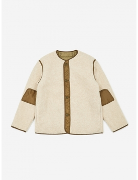 M 65 Liner Jacket   Off White/Olive by Beams Plus