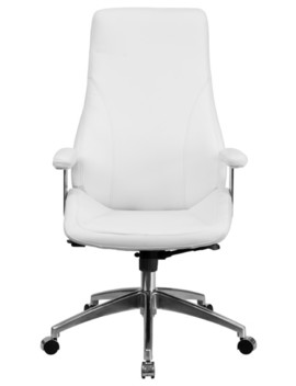 High Back Leather Swivel Office Chair, White by Flash Furniture