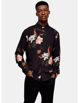 Black Floral Print Slim Shirt by Topman