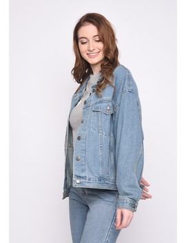 Skelly Ladies Lightning Denim Jacket In Blue by Skelly