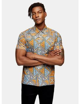 Brown Tile Print Paisley Slim Shirt by Topman