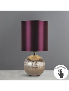Adana Plum Mini Ceramic Touch Lamp by Dunelm