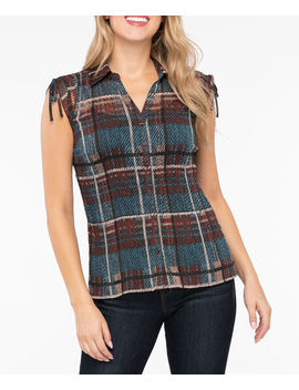 Button Front Accordian Pleat Blouse by Ricki's