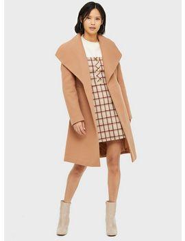 Camel Belted Robe Coat by Miss Selfridge