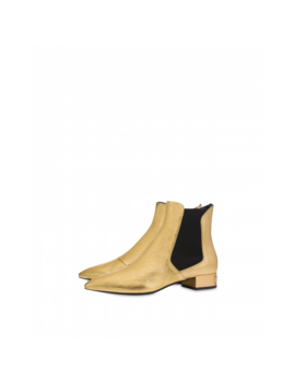 Jewel Heel Laminated Ankle Boots by Moschino