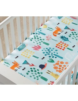 West Elm X Pbk Organic Woodland Colorful Fitted Crib Sheet, Fitted Crib Sheet, Multi by Pottery Barn Kids