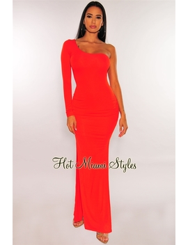 Tangerine One Shoulder Sleeve Ruched Slit Maxi Dress by Hot Miami Style