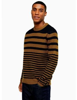 Toffee And Navy Stripe Jumper by Topman