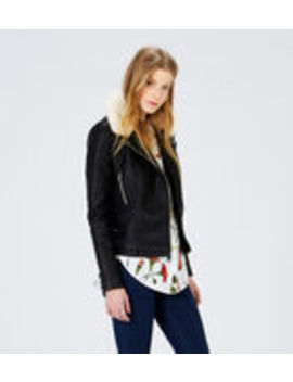 Fur Collar Biker Jacket by Warehouse